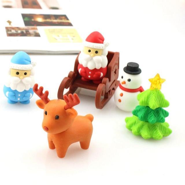 5 Pcs/Pack Mini Kawaii Eraser Cartoon Santa Christmas Tree Snowflake Elk Deer School Office Supplies Rubber Eraser Gift For Kids by Pinkinahy