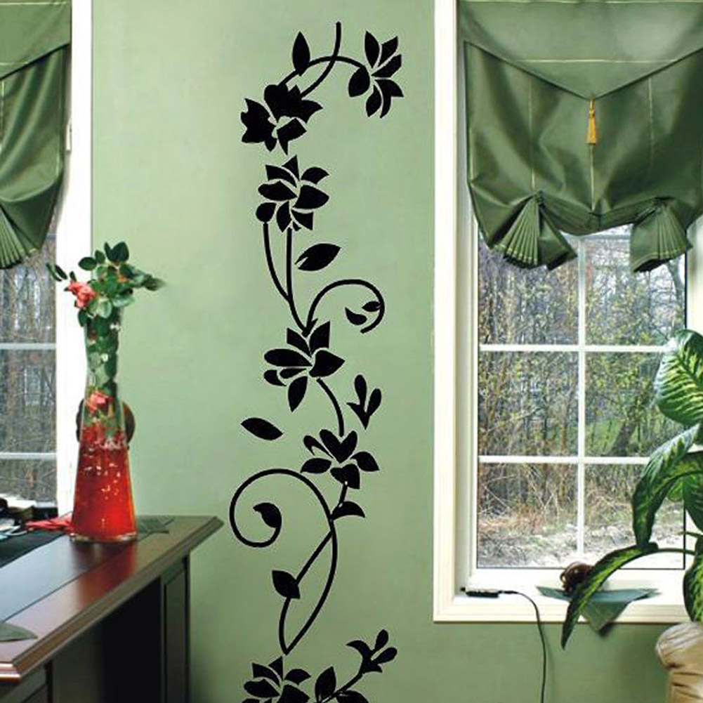 60*37cm black classic flower vine wall stickers/generation Europe, carved vines to map custom