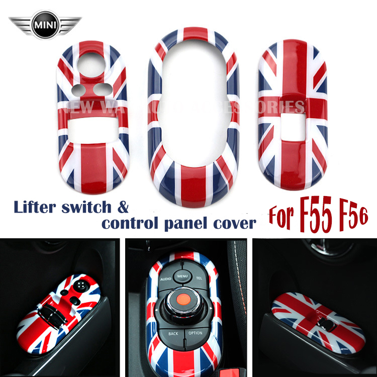 3pcs/set Car Window Lifter Switch Cover Control Panel Cover Sticker Decoration for Mini F55 F56 Union Jack Checker free shipping for kia sportage door window switch with side mirror switch window lifter switch