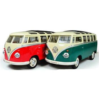 Nuevo estilo, escala 124, modelo de auto Bus, juguetes educativos para niños, coche en miniatura de Color verde rojo, juguetes coleccionables para regalo de cumpleaños
