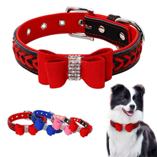 Braided Padded Leather Dog Collars with Rhinestone Bowknot f