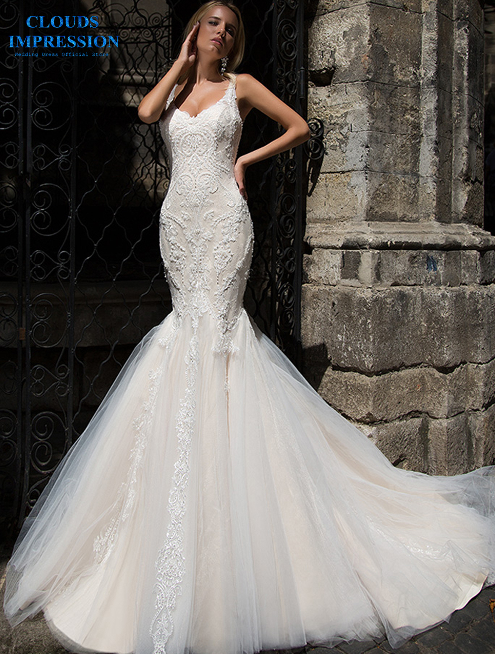 CLOUDS IMPRESSION Sexy 2019 Sweetheart Wedding Dress Mermaid Lace Beading Appliques Bridal Gowns Bride Dress Vestige De Noiva
