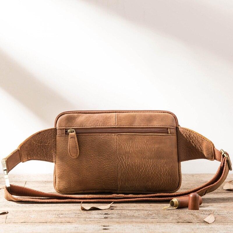 PNDME retro simple genuine leather men 39 s chest bag cowhide multi function waist packs casual handmade brown messenger bags in Waist Packs from Luggage amp Bags