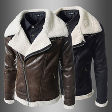 New Winter Mens Leather Jacket Motorcycle Warm Fashion Brand Fleece