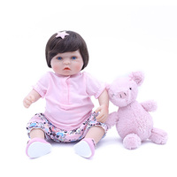 40 CM Bebe Reborn Dolls soft Cloth Body Silicone Rebron Babies Girl with bear doll Toys Newborn Bonecas brinquedos Kids Gift