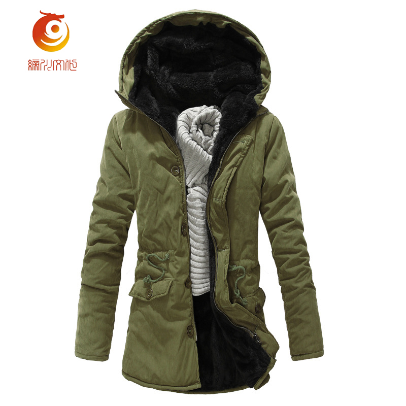 Hot Sale Men Winter Long Cotton Coat Fashion Plus Cashmere Thicker Hooded Parka High Quality Keep Warm Men Jacket Large Size 2XL hot sale cotton solid men tank top