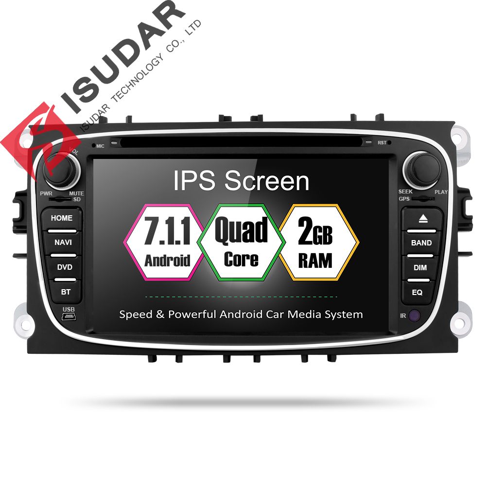 Isudar Car Multimedia Player 2 Din Auto DVD Android 7.1 For Ford/Mondeo/Kuga/S-Max/C-Max/Galaxy/Focus 2 CANBUS 4 Core Radio GPS isudar car multimedia player gps 2 din car radio audio auto for ford mondeo focus transit c max bluetooth auto rear view camera