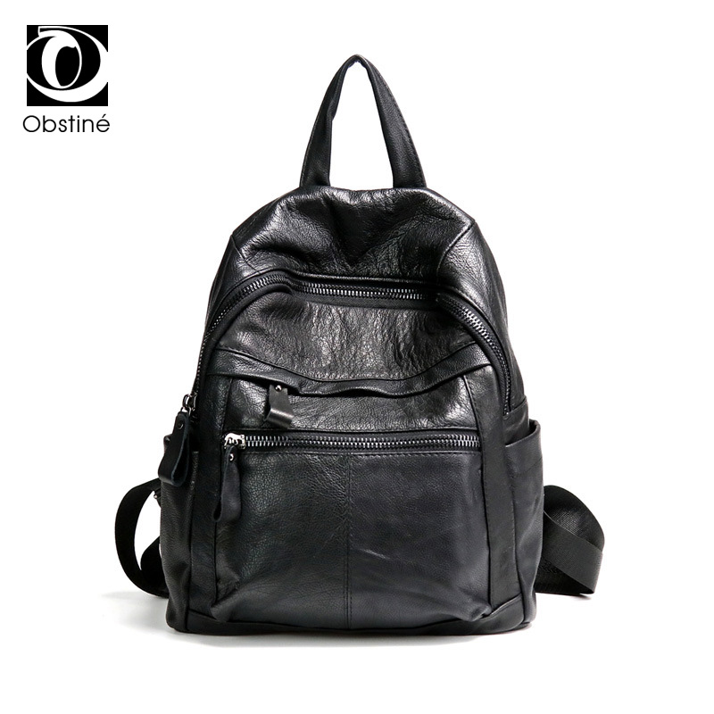 Cowhide Genuine Leather Backpack Women High Quality Real Cow Leather Backpacks for Girls Black Travel Bags