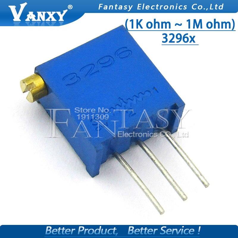 10pcs 3296 3296X Series Resistanceohm Trimpot Trimmer Potentiometer  1K 2K 5K 10K 20K 50K 100K 200K 500K 1M Ohm  100R 200R 500R