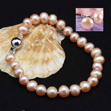 "7-8mm natural Pink Akoya Cultured Pearl Earrings Bracelet Set 7.5"" Hand Knotted(China)"