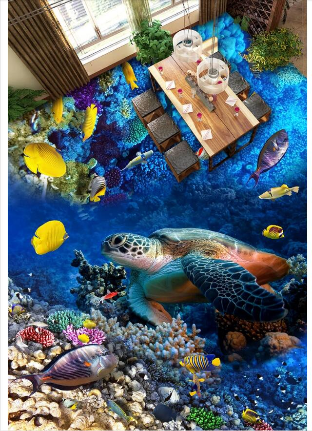 3 d pvc flooring custom photo wallpaper wall sticker Sea