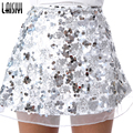 Laisiyi Gold Sequin Mesh Mini Skirts Womens Christmas High Waist Skirt Zipper Casual Short Party Beach Black Skirt ASSK20005