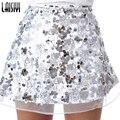 Laisiyi Oro Malla De Lentejuelas Mini Faldas Para Mujer de Navidad Falda de Cintura Alta Cremallera Ocasional de Playa de Fiesta Corto Negro Falda ASSK20005