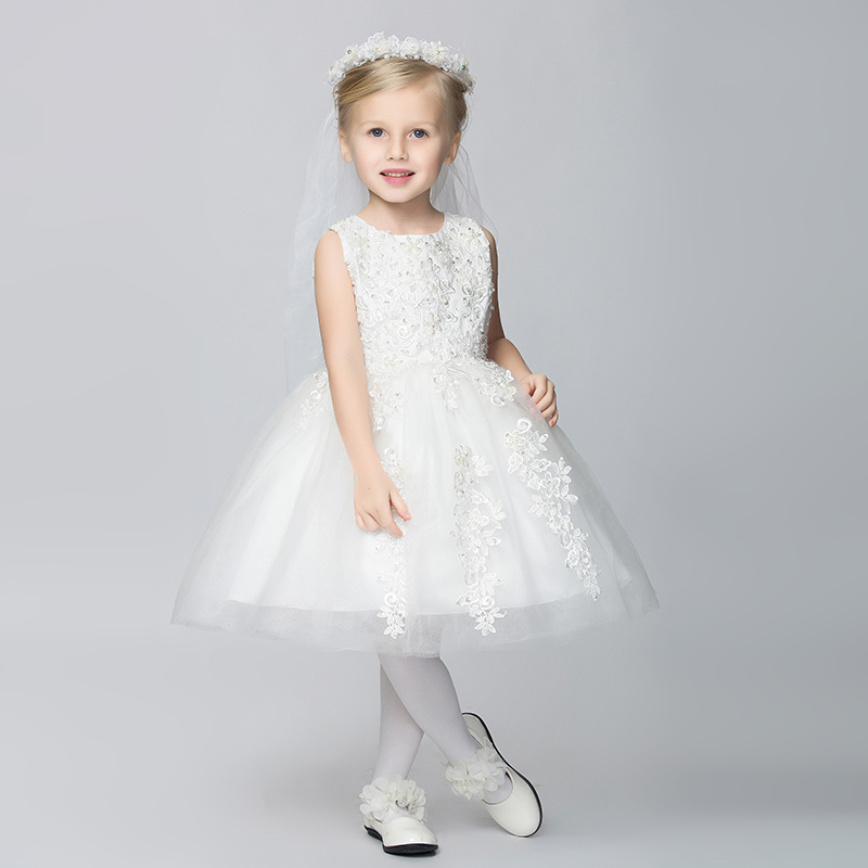 f61a589bb24 Child Bridesmaid Dresses White Beading Kids Evening Gowns vestido  Sleeveless Lace Kid Wedding Dress Free Shipping CD-108