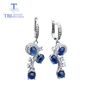 TBJ,blue kyanite musical notation earrings natural gemstone 925 sterling silver fine jewelry for girl wedding & Anniversary gift