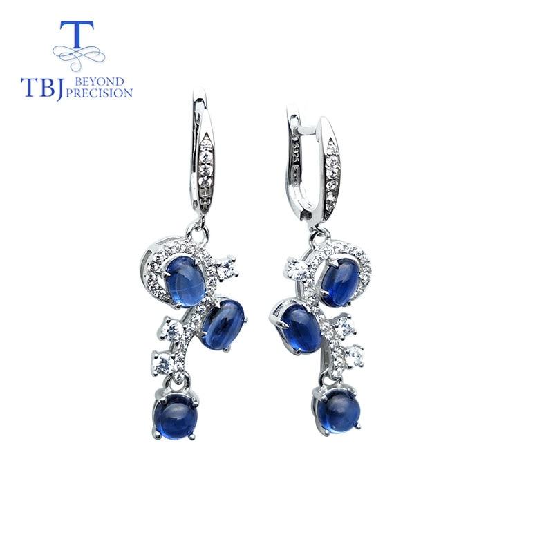 TBJ, niebieski cyjanit notacji muzycznej kolczyki naturalny kamień 925 sterling silver grzywny biżuteria dla dziewczyny ślub i prezent na rocznicę w Kolczyki od Biżuteria i akcesoria na  Grupa 1