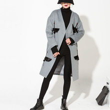 [soonyour] 2017 new spring Temperament Woollen Overcoat Two-sided Embroidery Woolen big Coat women fashion HA04202S