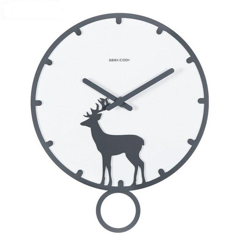 14 pouces Grande Horloge Murale En Bois avec Pendule Silencieux Non Coutil Quartz Montre Murale À Piles pour le Salon