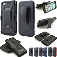 For iPhone 6 6s Plus Case Heavy Hybrid Armor Silicone+Hard Plastic Back Cover With Belt Clip Stand Case For Apple IPhone 6 6s+
