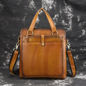 Vintage Brown REAL Genuine Leather Men Messenger Bags Soft Cow Leather Men Handbag Casual Briefcase OK for A4