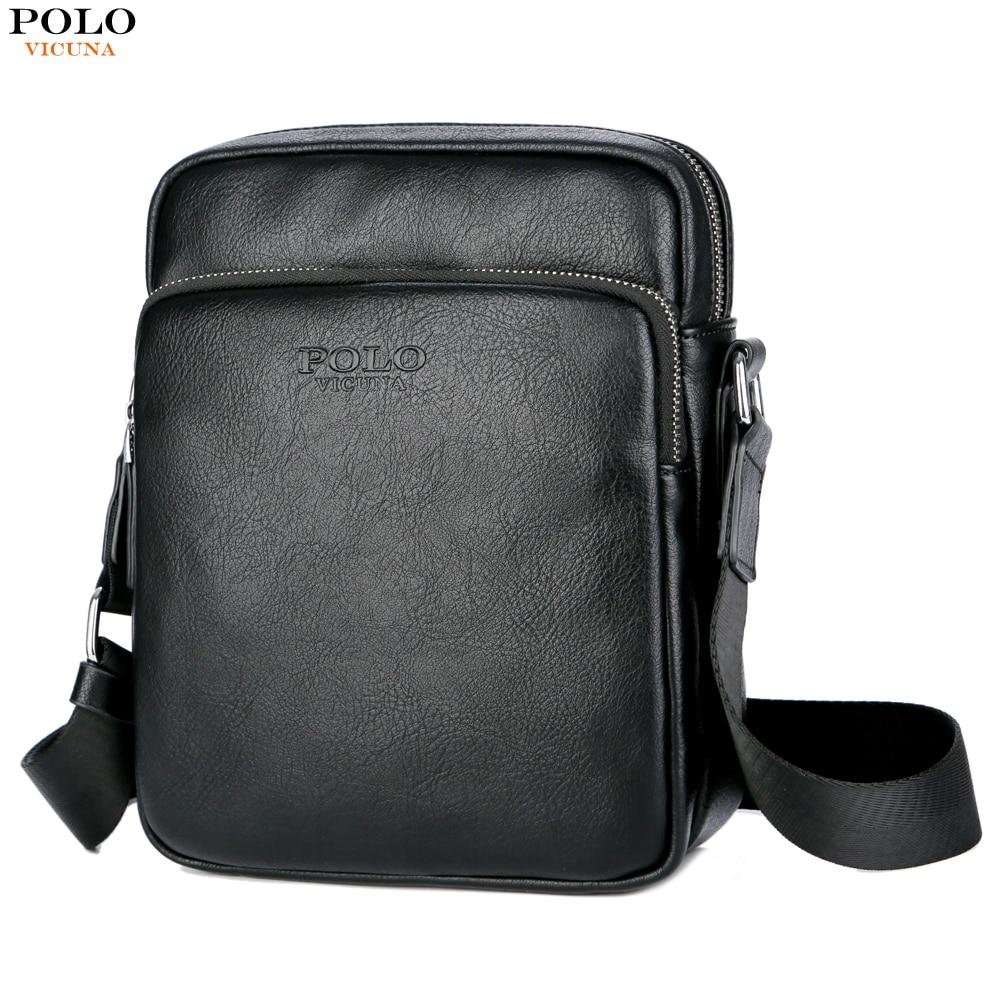 9fac14d8e VICUNA POLO Brand Solid Black Casual Men Messenger Bag Mini Leather  Business Men Shoulder Crossbody Bag