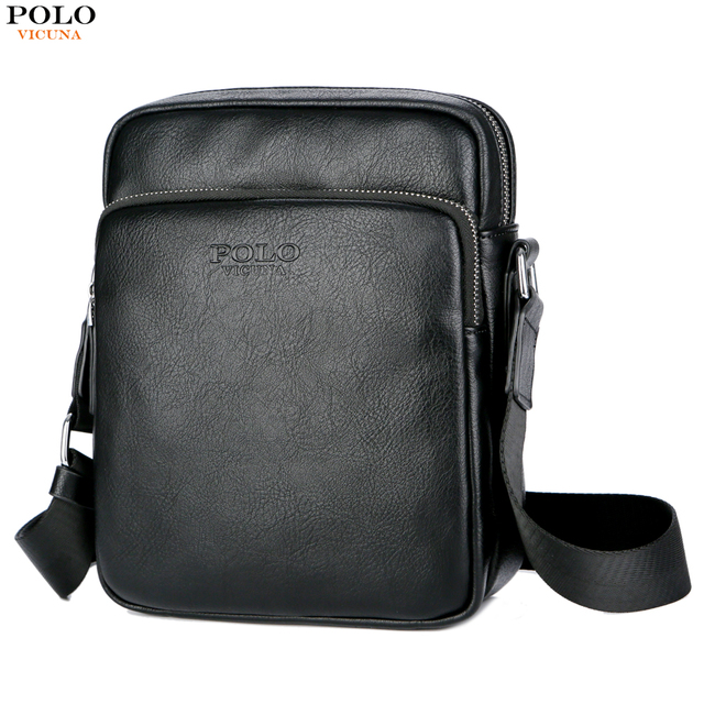VICUNA POLO Brand Solid Black Casual Men Messenger Bag Mini Leather  Business Men Shoulder Crossbody Bag Leather Laptop Men s Bag ef84851bcf44d