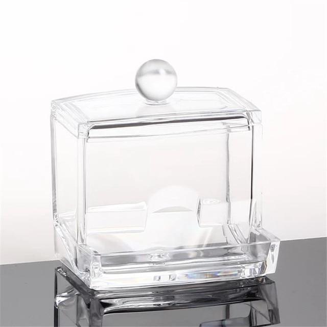 Fashion Clear Acrylic Cotton Swabs Organizer Box Cosmetic Q Tip Storage  Holder Makeup Storage Box