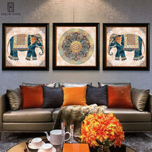 Elephant Flowery Radial Pattern European Style Canvas Posters And Paintings Print Art On Wall For Home Living Room Decor