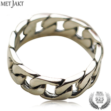 MetJakt S925 Sterling Silver Love Ring & Vintage Thai Silver Handmade Rings for Man and Women Fine Jewelry s925 sterling silver black onyx fine pattern vintage old thai silver men s rings