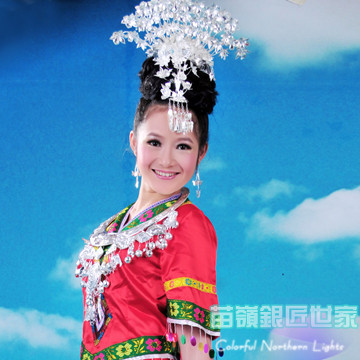 Мяо серебряные аксессуары для волос Hat воротник Танцевальный костюм Bird волос придерживаться кисточкой