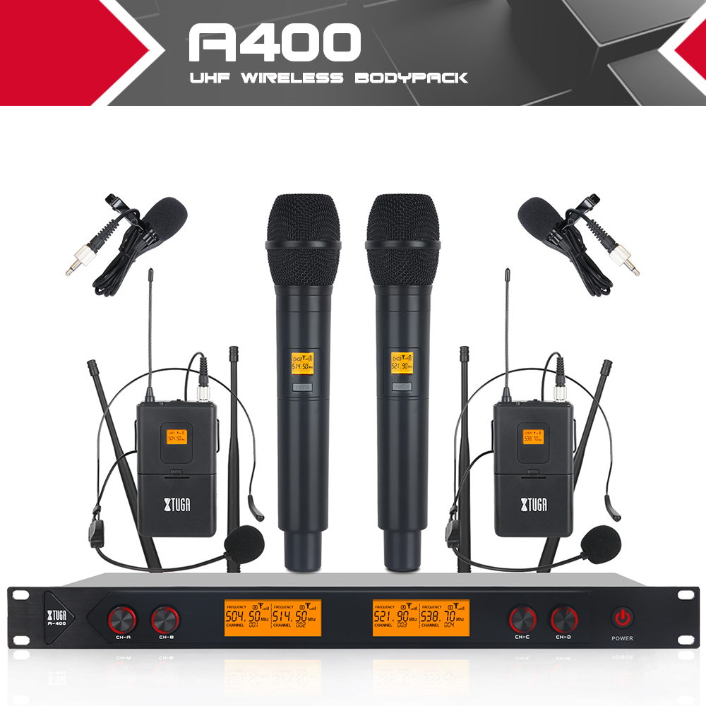 XTUGA A400 Metal Material 4 Channel UHF Wireless Microphone System with 4 Transmitters use for Stage
