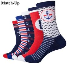 Match Up Estilo Navy Anchor Hombres Amantes divertidos Calcetines de Algodón Peinado calcetines Dos Tamaño (5 par/lote)