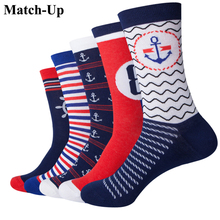 Match Up  Navy Style Anchor Men Combed Cotton funny Socks  Lovers socks Two Size   (5 pairs/lot )
