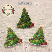 10pcs kawaii christmas tree resin planar flatback miniature art diy jewelrycraft scrapbooking2935mm - Flat Back Christmas Tree