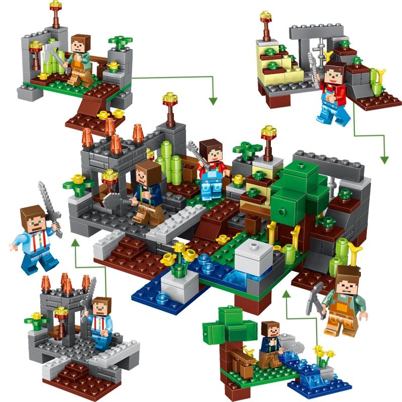 New 4Pcs/set Minecraft Sword Espada Models Figures My World Building Blocks Model Set Figures Compatible  Toys For Kids