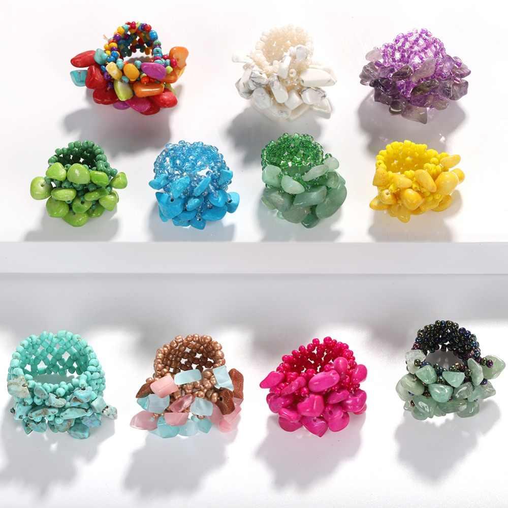 Girlgo ที่มีสีสัน Rhinestone ลูกปัดแหวน Handmade เรซินหินแหวนงานแต่งงานเจ้าสาว Porm แฟชั่นเครื่องประดับ