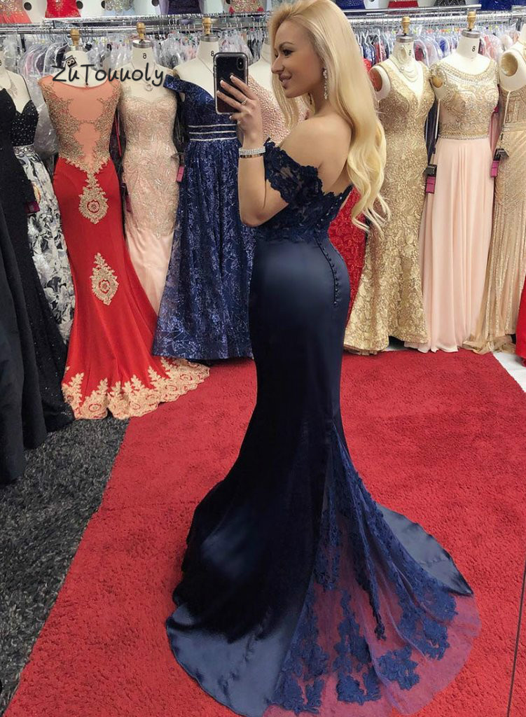 Chic Mermaid Evening Dress Black Navy Off Shoulder Prom Dress With Lace Fitted Graduation Dresses Evening Wear Satin Long Party