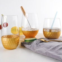 New style Originality Gold-plated Glass egg cup Ground honeycomb Household glass Cup fruit Juice