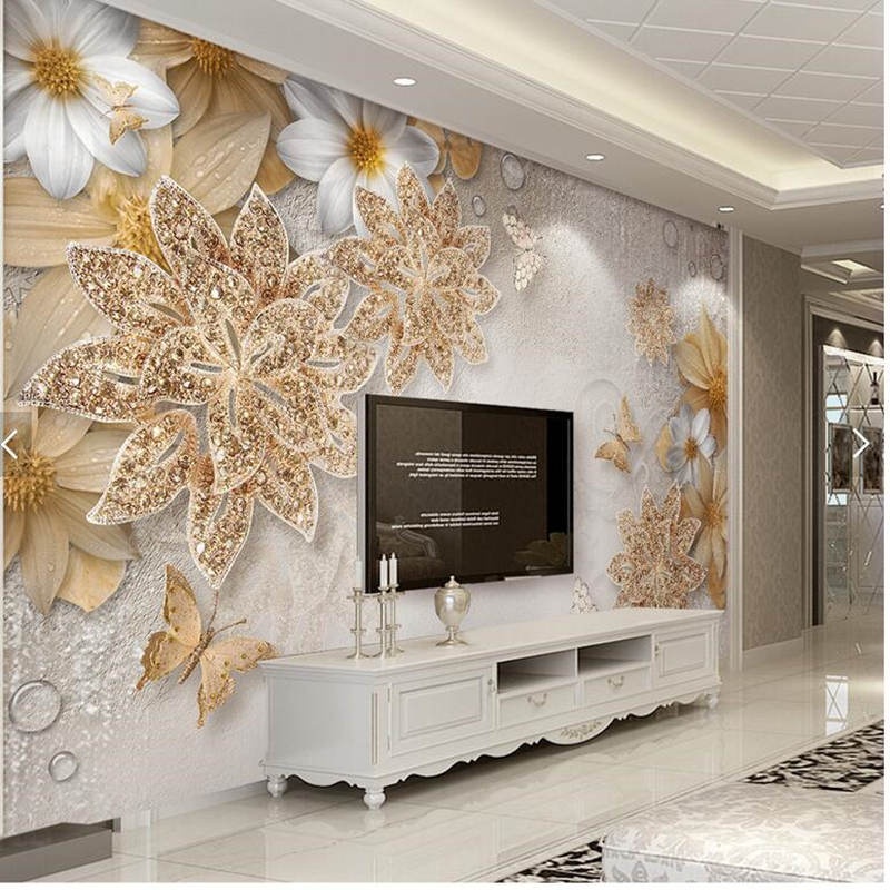 Custom papel de parede 3d,golden jewelry flower Butterfly murals for living room bedroom dining room TV background wall paper custom photo wallpaper forest landscape murals for the living room sofa tv background wall paper papel de parede