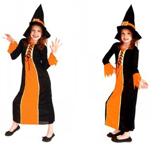 new cute vampire costume halloween costume for kids girl pumpkin witch dress set black witches hat children school cosplayin menu0027s costumes from