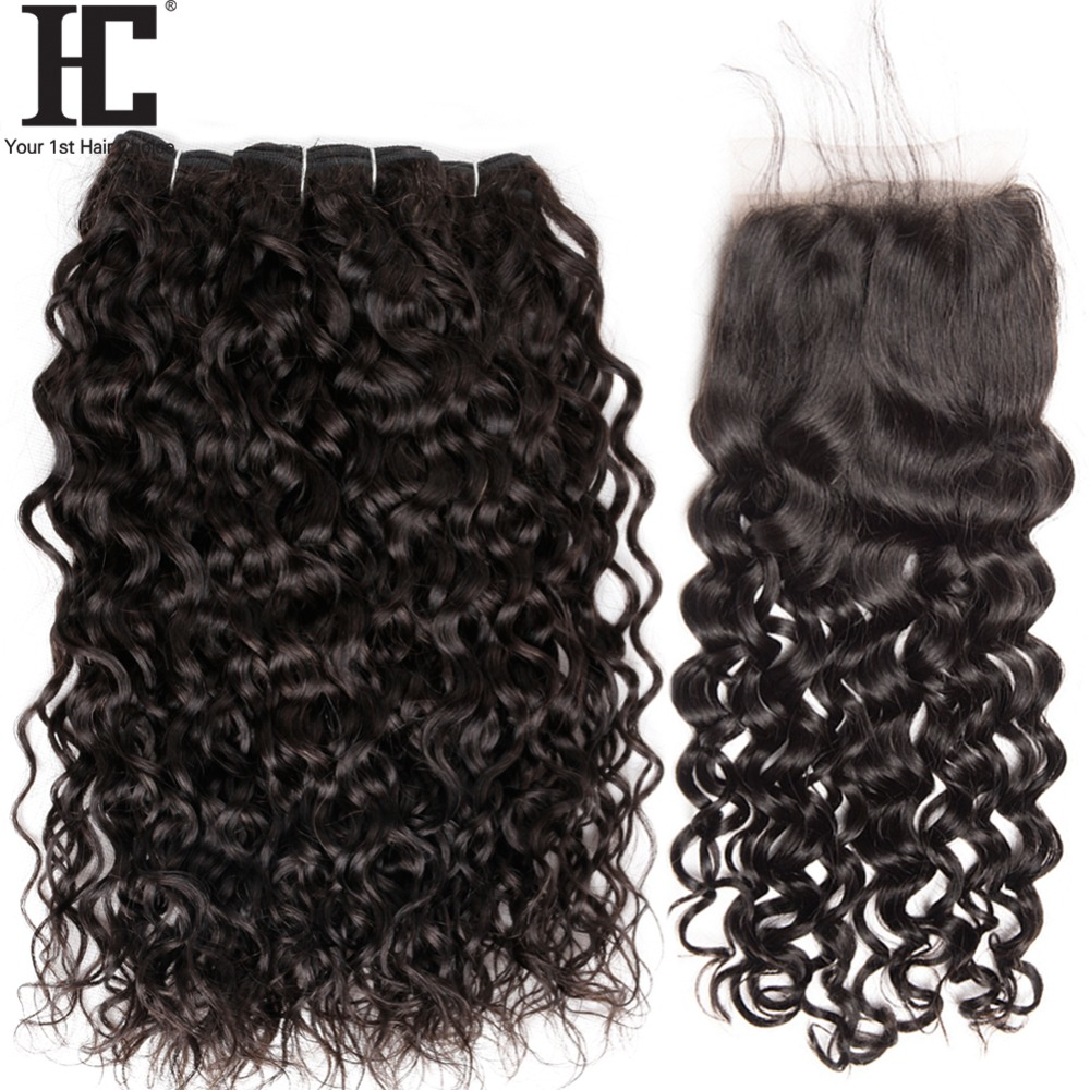 HC Brazilian Water Wave Bundles With Closure Human Hair 3 Bundle With Closure Non Remy Brazilian Hair Weave Bundles With Closure