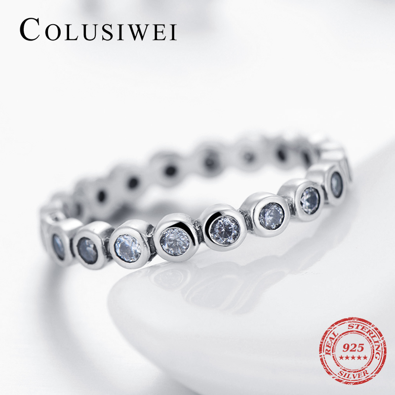 Top Quality Luxury Original Real Solid 925 Sterling Silver CZ Finger Ring Authentic Silver Jewelry For Women Anniversary Gift