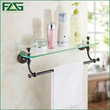 FLG Luxury Soild Brass Single Glass Bathroom Cosmetic Rack Wall Mounted Oil Rubbed Bronze Commodity Storage Shelf With Towel Bar
