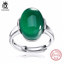 ORSA JEWELS Genuine 925 Sterling Silver Rings with Big Green/Red Natural Stone 2019 New Silver Couple Rings for Women Men SR24(China)