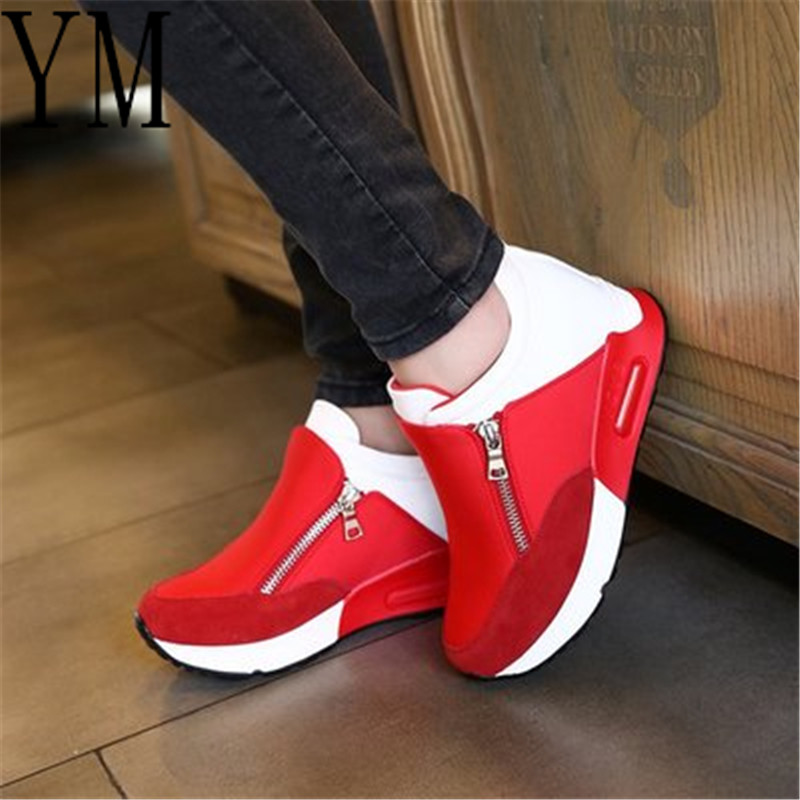 2018 Flock New High Heel Lady Casual Red/Black Women Sneakers Leisure Platform Shoes Breathable Height Increasing Shoes Big 42
