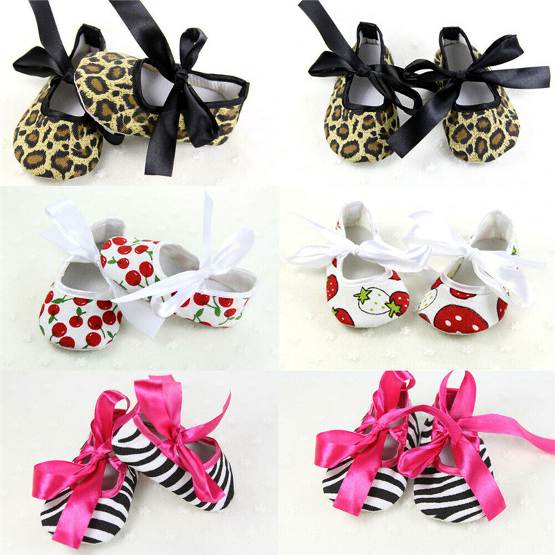 Newborn Baby Girl Bowknot Shoes Cloth Soft Sole Anti-slip Prewalkers Zebra Stripe Cherry Leopard Strawberry Print Shoes 0-12M