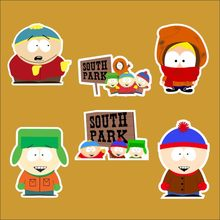 6pcs/lot South Park Grizzly Notebook refrigerator skateboard trolley case decals backpack Tables waterproof car sticker(China)