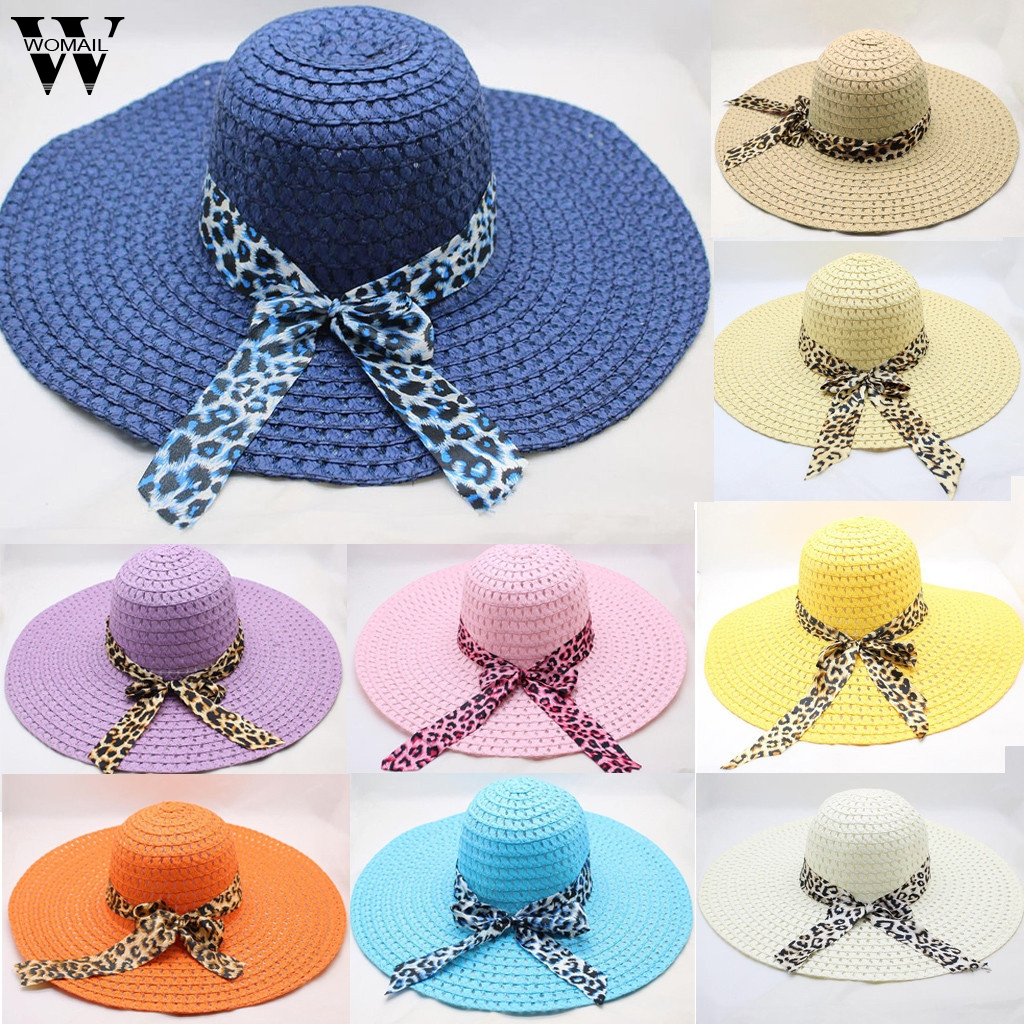 Womail Women Hat Summer PLeopard Print Big Brim Straw Hat Sun Floppy Wide Brim Hats Beach Cap Sun Hat 2019 Dropship F25