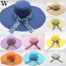 Womail sombrero de mujer de verano el sintetipardo impresión gran ala  sombrero de paja sol Floppy ala ancha sombreros de playa d. bab0f7a73c1