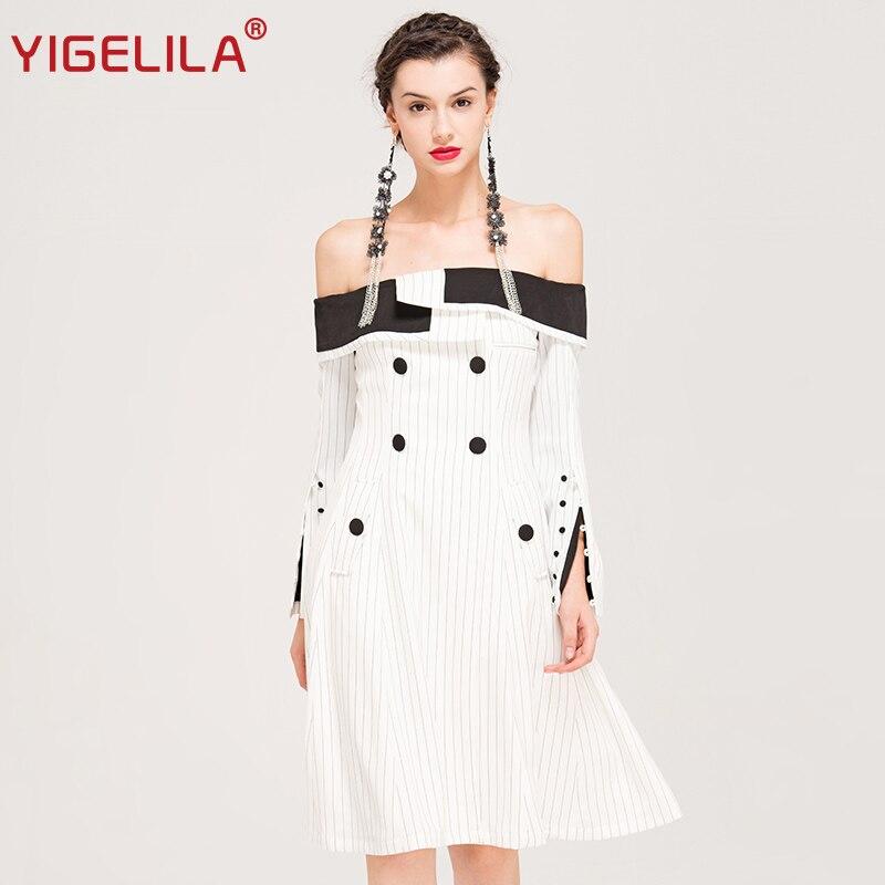 YIGELILA Brand 62372 Latest 2018 Spring Women Sexy Slash Neck Off Shoulder Slim Black White Striped Knee-length Dress women s casual slash neck off shoulder striped mini dress